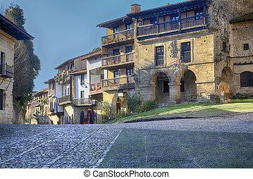 héritage, vieux, gâter, rues, santillana, del, village, mondiale, espagne, typique