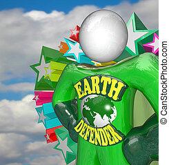 héroe, ambientalista, activista, tierra, defensor, súper