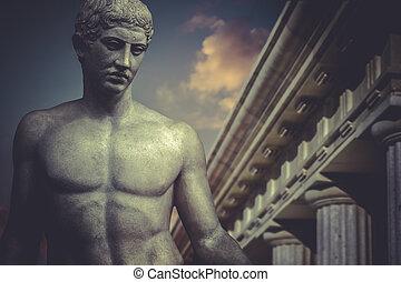 héroe, griego clásico, estatua, escultura, apolo