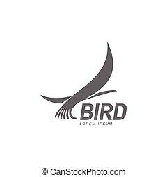 héron, stylisé, silhouette, cigogne, gabarit, grue, logo