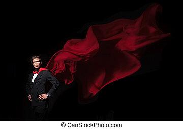 héros, business, cap, super, rouges, homme