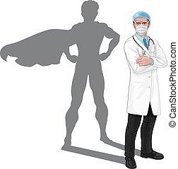 héros, concept, masque, superhero, super, docteur, ombre
