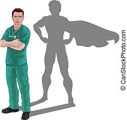 héros, docteur, super, superhero, infirmière, ombre