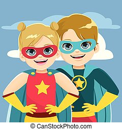 héros super, frères soeurs