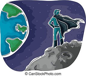 héros, sur, montre, illustration, la terre