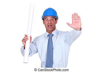 hésitant, projet, construction, ingénieur