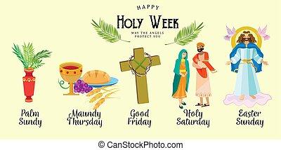 hét, tövis, pálma, előbb, húsvét, kereszt, jézus, fejtető, kereszténység, vektor, isten, övé, jámbor, vasárnap, eltart, ábra, kölcsönadott, jó, indulat, keresztre feszítés, vagy, vacsora, állások, halál, állhatatos, péntek