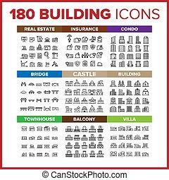 híg, vektor, állhatatos, nagy, ikon, épület, egyenes