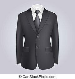 hím, öltözet, sötét, illeszt, noha, tie., vektor