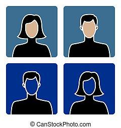 hím, avatar, női, ikonok