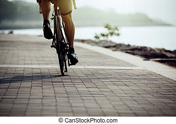 hím, biciklista, elnyomott bicikli, képben látható, tengerpart