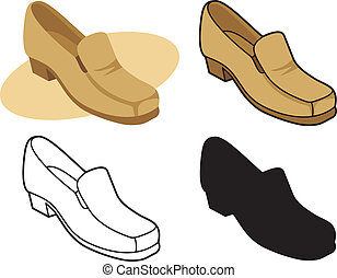 hím, cipő, 2, vektor