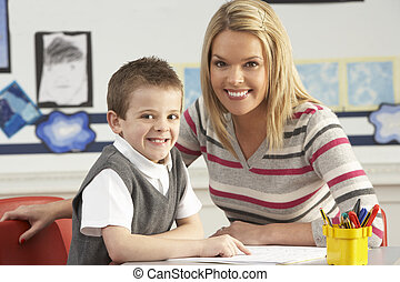 hím, elemi iskola, szembogár, és, tanár, munka asztal, alatt, osztályterem