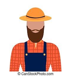 hím, elszigetelt, farmer
