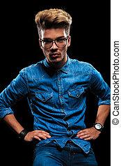 hím, formál, feltevő, fárasztó, farmernadrág, cajgvászon ing, és, szemüveg