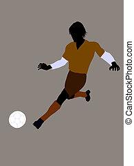 hím, futball játékos, ábra, árnykép