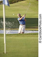 hím, lövés, folyik, bunker, idősebb ember, golfjátékos, játék golf