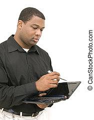 hím, munka on, laptop
