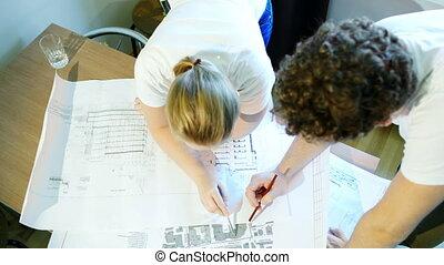 hím női, építész, közben, munka, noha, szerkesztés,...