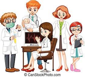 hím, női, együtt, orvosok