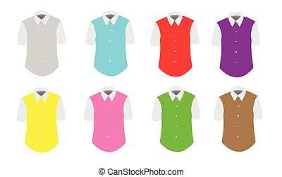 hím, színes, trikó