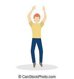 hím, táncol., táncol, betű, ember, gyártás, boldog, mozgalom