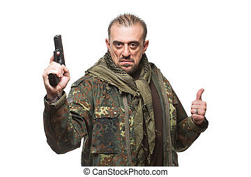 hím, terrorista, alatt, egy, hadi, zakó, noha, egy, pisztoly, alatt, övé, kezezés.