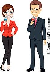 hír, hím, női, riporter