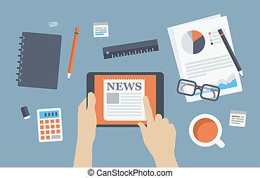 hír, menedzser, felolvasás, ábra, lakás