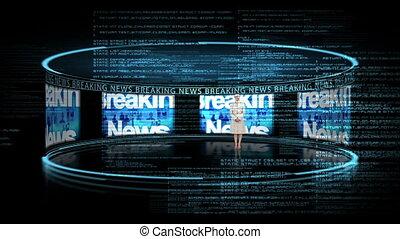 hír, nő, átnyújtás, törő