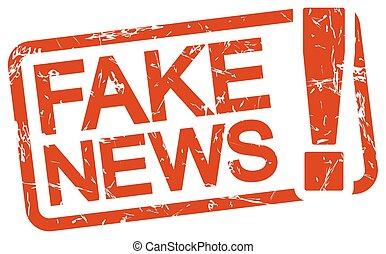 hír, szöveg, bélyeg, piros, hamisít
