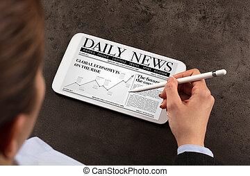 hír, woman olvas, ügy