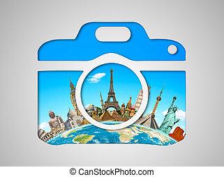 híres, nyelvemlékek, közül, világ, alatt, egy, fényképezőgép, ikon