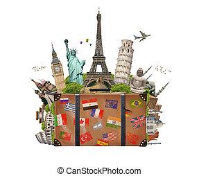 híres, tele, bőrönd, ábra, emlékmű