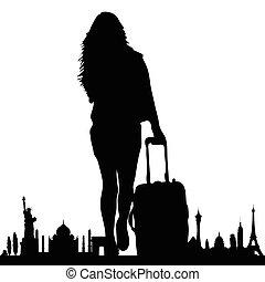 híres, utazás, vektor, leány, emlékmű