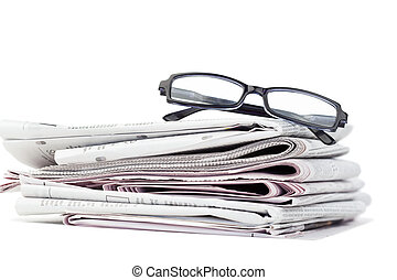 hírlapok, fekete, szemüveg