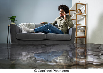 hívás, ember, vízvezeték szerelő, ülés, pamlag