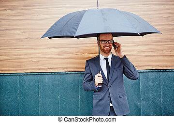 hívás, esernyő, alatt