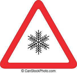 hó, út cégtábla, forgalom