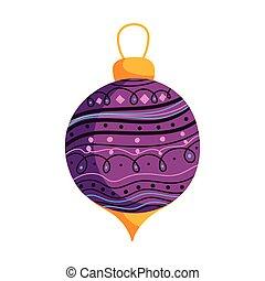 hó, dekoráció, ünneplés, labda, vidám, bíbor, karácsony