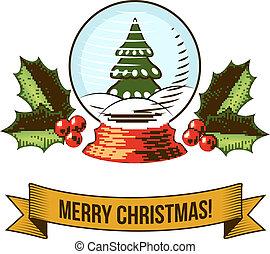 hó földgolyó, karácsony, ikon