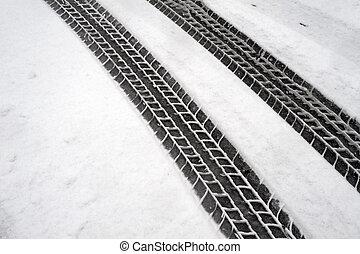hó, tél, autógumi, megjelöl