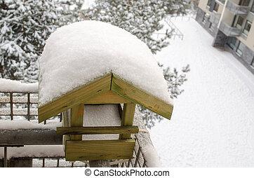 hó, tető, nesting-box, él, befedett, erkély