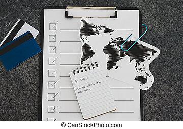 hódító, globális, világ térkép, fogalom, piac, lista, csipeszes írótábla, haladó, ügy
