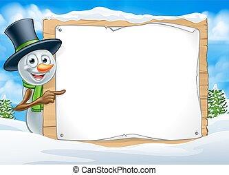 hóember, aláír, színhely, karikatúra