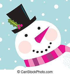 hóember, csinos, hó, arc, háttér, boldog
