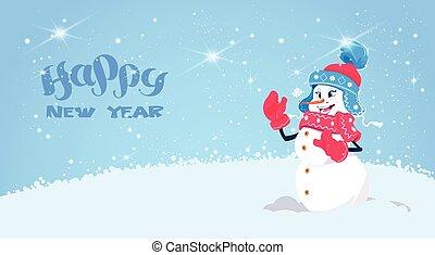 hóember, csinos, tél, fárasztó, köszönés, dekoráció, kártya, év, új, leány, ünnep, kalap, sál, boldog
