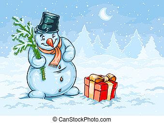 hóember, doboz, tehetség vonó, karácsony, piros
