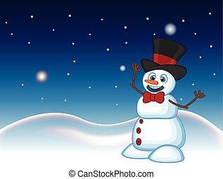 hóember, fárasztó, odaköt, kalap, íj