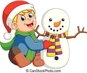 hóember, fiú, övé, litte, nagy, hó, gyártás